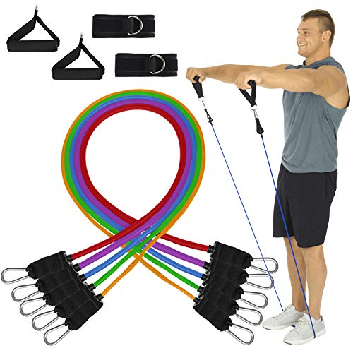 Vive Resistance Bands with Handles (11 Pieces) - Tube Rehab Band Set Includes Shoulder Pulley Door Anchor - 2 to 70 LBs Tension - Home Workout Elastic Fitness Equipment - Men & Women Training Therapy
