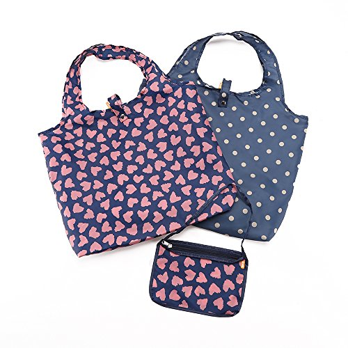 Reusable Shopping Bags - Stylish Folding Tote Design with Zipper Pouch - Washable and Lightweight Grocery Bags by Enti (Sweet Heart, 2+1)