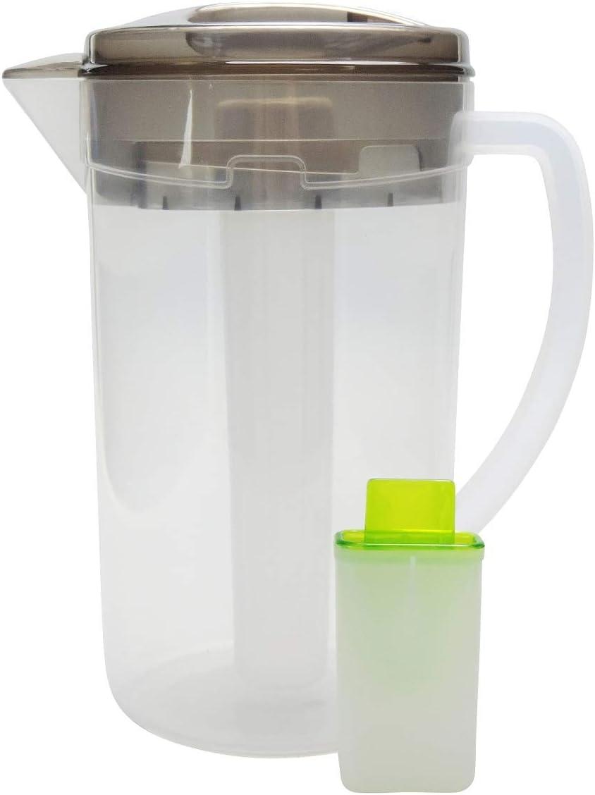 versandfuxx24 Grosser Krug 2 Liter Saftkanne mit Siebeinsatz und Eisrohr