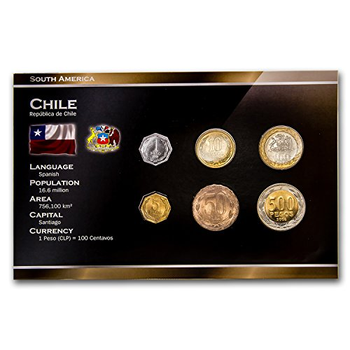 CL 2000 Chile 1-500 Pesos 6-Coin Set BU Brilliant Uncirculated