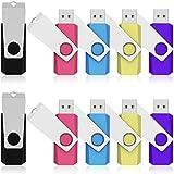 K&ZZ 16GB USB 2.0 Colorful Flash Drive Swivel Pen Drive Bulk Jump Drives Memory Stick Thumb Drives, 10 Packs (Mixed Colors: Black Pink Sky Blue Yellow Purple)