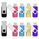 K&ZZ 32GB USB 2.0 Colorful Flash Drive Swivel Pen Drive Bulk Memory Stick Thumb Drives for Data Storage, 10 Packs (Mixed Colors: Black Pink Sky Blue Yellow Purple)