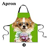 HUGSIDEA Funny Cute Pet Dog Papillon Print Kitchen Cooking Bib Aprons for Girls