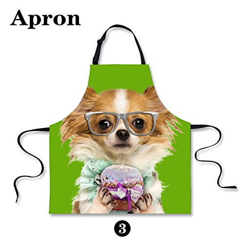 Promotional Apron (HUGSIDEA Funny Cute Pet Dog Papillon Print Kitchen Cooking Bib Aprons for Girls)