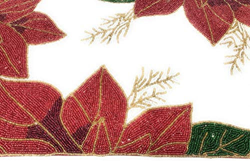 Northeast Home Christmas Poinsettia Beaded Table Runner Centerpiece, 36-Inch x 13-Inch ()