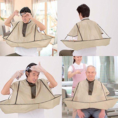 Coohole DIY Hair Cutting Cloak Umbrella Cape Salon Barber Professional and Home Stylists Using (35'', B) (Natural Cotton Twist Rope)