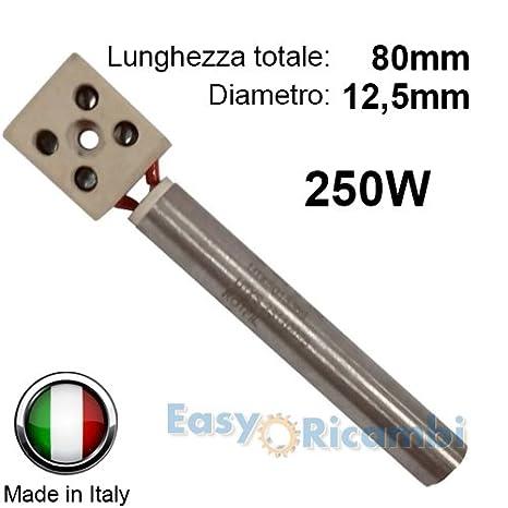 Bujía Resistencia encendido para estufas de pellets diámetro 12,5 mm 80 mm 250 W eurofiamma - Universal: Amazon.es: Hogar