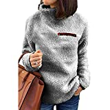 WOCACHI Final Clear Out Womens Sweater Turtleneck Pullover Jumpers Zipper Decor Tops Blouses Winter Casual Solid Color Warm Thick Plush Suede (Gray, X-Large)