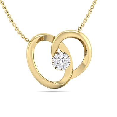 585ca8be5a215 Buy Perrian Single Diamond Prong Set Heart Pendant With chain, 18K ...