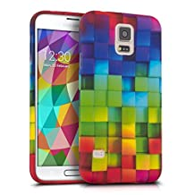 kwmobile TPU SILICONE CASE for Samsung Galaxy S5 / S5 Neo / S5 LTE+ / S5 Duos Design rainbow cubes multicolor green blue - Stylish designer case made of premium soft TPU