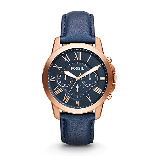 Fossil Men's Grant Quartz Stainless Steel and Leather Chronograph Watch, Color: Rose Gold, Navy (Model: FS4835IE) (Gold Watch Rose Men Fossil)