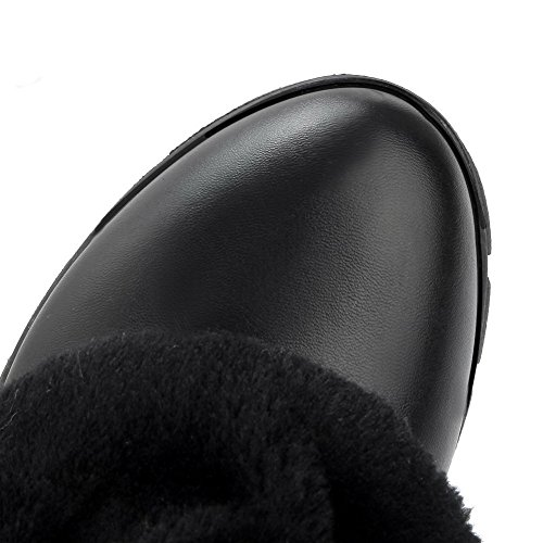 Material Closed Women's Black Heels Low top Toe Boots Allhqfashion Low Solid Soft Round 0xdw7SS