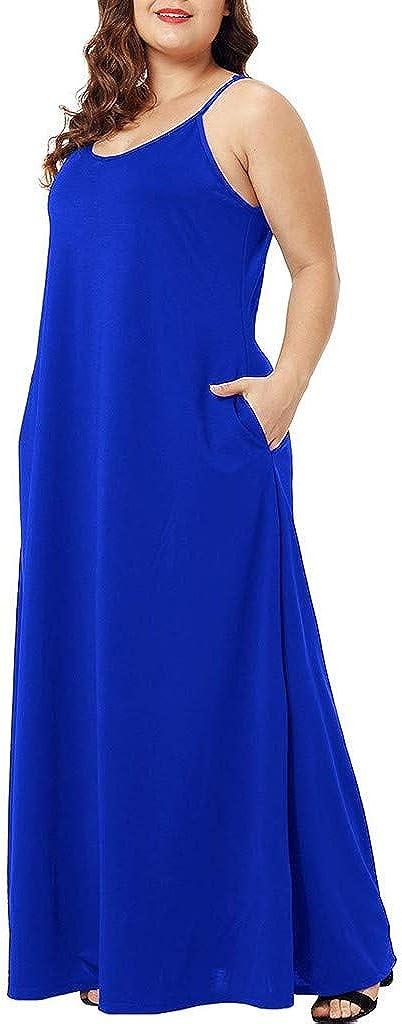 Spaghetti Strap Solid Pocket Losose Maxi Dress Juesi Womens Plus Size Dress