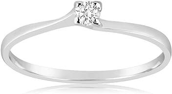 0c80b5e324e9 MILLE AMORI Joy Collection Anillo Mujer - Oro Blanco 9 Quilates 375 1000 -  Diamantes