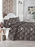 3 Pcs Soft Colored Full and Double Bedroom Bedding 65% Cotton 35% Polyester Double Quilted Bedspread Set 100% Fiber Filling Padded / Love Heart Couple Romantic Black And White Shape / Bedspread Set