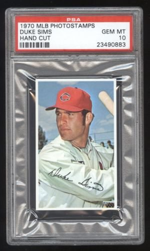 1970 MLB Photostamps Duke Sims PSA 10 GEM MINT Cert #23490883 POP 1/2 (Cert Gem)