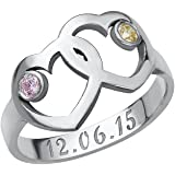 Heart Mother's Ring with Birthstones in Sterling Silver - Personalized & Custom Made