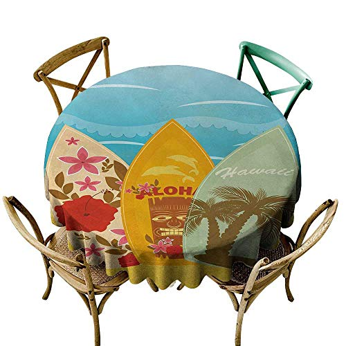 - Wendell Joshua Premium Round Tablecloth 39 inch Tiki Bar,Hawaiian Beach Surfboards on The Sand Exotic Summer Vacation Sport Vintage Style,Multicolor Indoor/Outdoor Spillproof Table Cloth