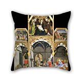 Pillow Cases Of Oil Painting Sano Di Pietro - Birth Of The Virgin; Stories Of The Life Of The Virgin,for Deck Chair,sofa,bar,car Seat,deck Chair,office 18 X 18 Inch / 45 By 45 Cm(2 Sides)