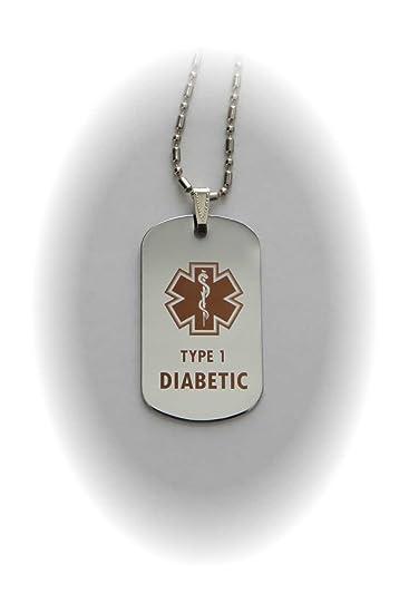 Amazon type 1 diabetes diabetic medical alert tag pendant in type 1 diabetes diabetic medical alert tag pendant in gold or silver silver aloadofball Images