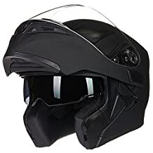 ILM Motorcycle Dual Visor Flip up Modular Full Face Helmet DOT with 6 Colors (M, MATTE BLACK)