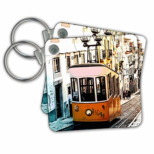 - RinaPiro - Transportation - Trolley. Streetcar. Tram. Electric rail vehicle. Old town. - Key Chains - set of 4 Key Chains (kc_261460_2)