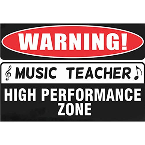 Jpettie Music Posters Warning Music Teacher New Humor Poster Metal Signs Funny Teacher Gifts 7.8x11.8 Inches