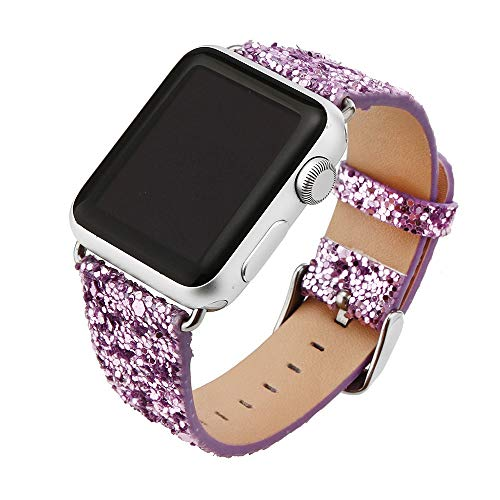Price comparison product image QIONGQIONG Iwatch / Apple Watch Strap Leather Bracelet with Metal Flash Stainless Steel Buckle for Iwatch Series 4 / 3 / 2 / 1,  40mm / 44mm / 38mm / 42mm, 42mm