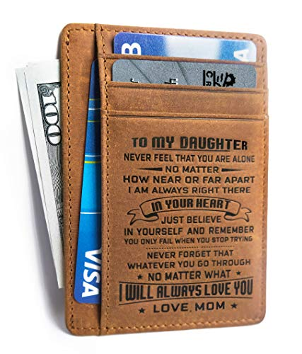 Minimalist Wallets Gift for daughter from Mom Slim Wallet RFID Front Pocket Wallet (To my Daughter - Love Mom)