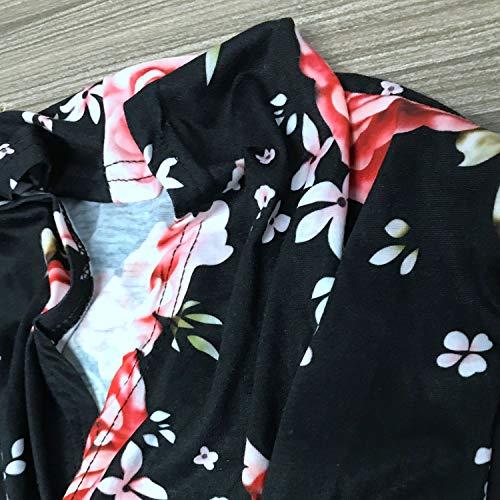 Floral Cardigan Femme Noir Boho Surdimensionné M Féminine Dames Tricoter Imprimé Manteau Manches Deux Sodial Longues Irrégulière Ourlet Pour À Mode qvFwCaxW4t