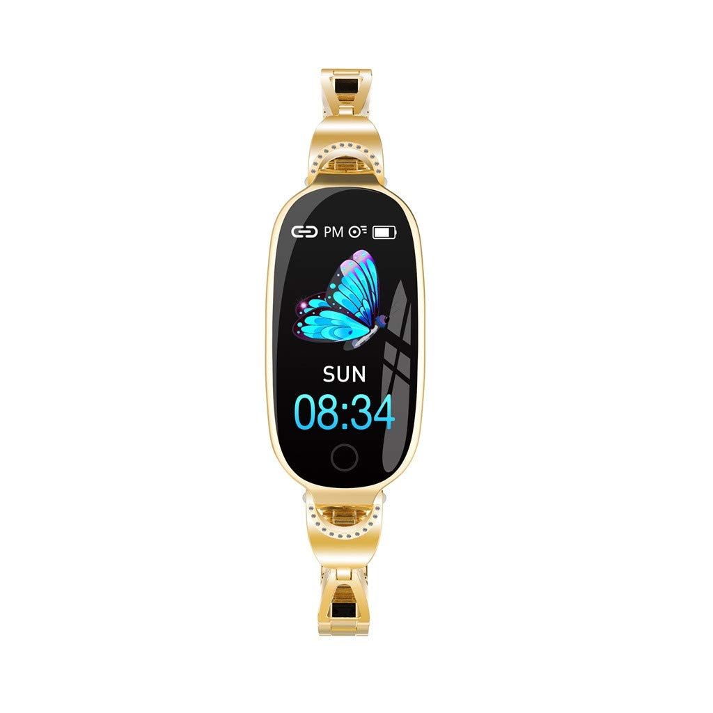 For iOS Android, Women Sport Smart Watch Heart Rate Blood Pressure Monitor Physiological Cycle Reminder Bracelet (Gold)