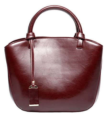 Covelin Genuine Leather Handbag Womens Retro Middle Size Tote Shoulder Bag Wine Red