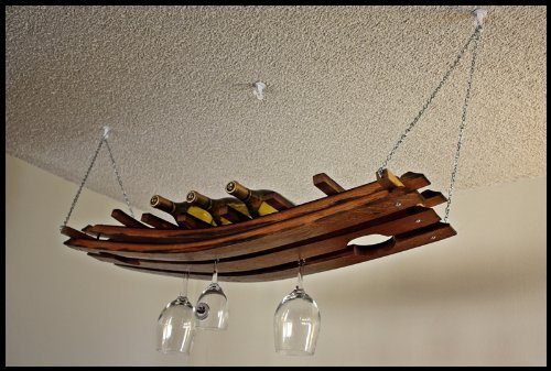 Hanging Wine Bottle and Glass Rack 16+ Made From Oak Wine Barrel Staves Review