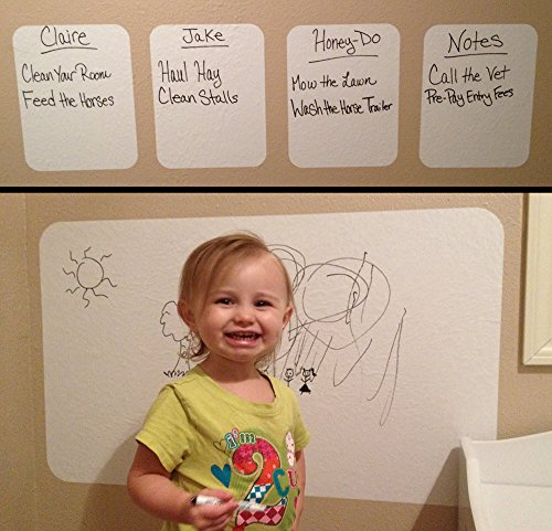"Dry Erase Sheets with Dry Erase Marker - Heavy Duty 4 mil (8.5"" x 11"") Vinyl White Board Wall Stickers -4 Pack of Peel and Stick Dry Erase Sheets or 1 DE Sticker Board -Made in the USA!"
