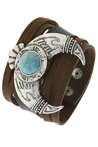 KARMAS CANVAS FAUX STONE SQAUSH BLOSSOM CUFF BRACELET (Turquoise/Silver)