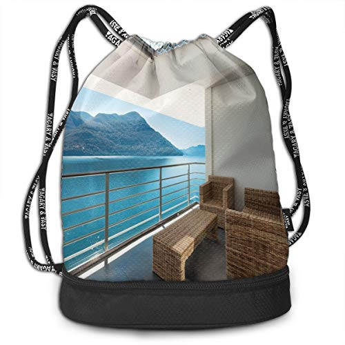 (Drawstring Backpack bags, Summer Penthouse Veranda Balcony With Sea Ocean View Image Print)