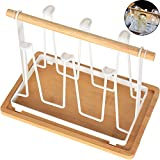 TINTON LIFE Metal Cup Drying Rack Stand with Wood Tray and Handle Non-slip Mug Wine Glass Bottle Holder Drain Organizer Holds 6 Cups