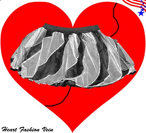 White Black Sequins Twister Two Tone Tutu Skirt Halloween Pumkin