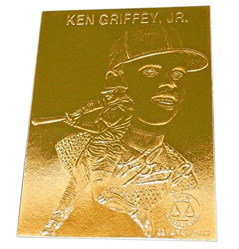 Gold Plated Baseball (Ken Griffey, Jr. - 22k Gold Foil Baseball Card, 1996, Plastic Holder, With Serial #.)