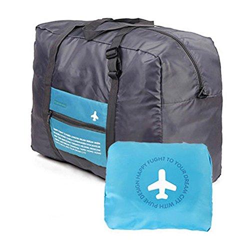 FunYoungTM Faltbare Reisetasche Superleichtes Tragbares Handgepäck aus Polyester Grau (Blau)
