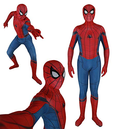 Unisex Lycra Spandex Zentai Halloween Cosplay Costumes Adult/Kids 3D Style (Kids-M, red ()