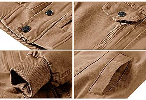 JMEN Chaqueta Militar para Hombre Cazadora de algodón de otoño, Chaqueta de Vuelo,Marrón,L