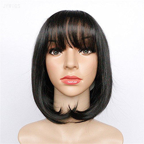 JYWIGS 14.96'' Black Short Wig Middle Parted Air Thin Bangs Rose Net Wig Cap Synthetic Party Hair ()