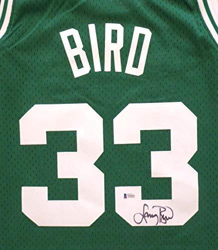 (Boston Celtics Larry Bird Autographed Green Mitchell & Ness Swingman Jersey Size XL Beckett BAS Stock #150321 )
