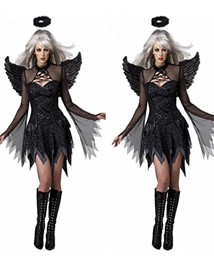 Angel Costume Without Halo (Halloween Dark Devil Fallen Angel Costume Cosplay Party Queen Fancy Dress With Halo)