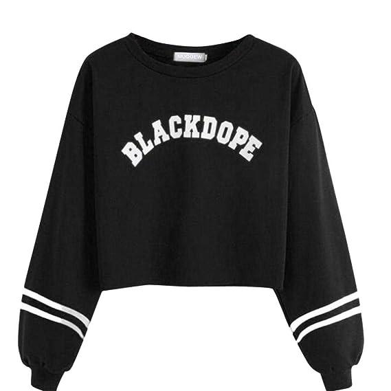 MEIbax Mujeres Casual Manga Larga Estampado suéter Escudo Sudadera Tops Blusa