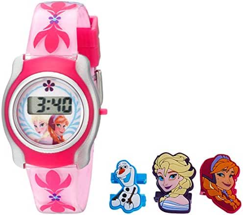 Disney Kids' FNFKD012 Frozen Watch with Pink Plastic Band and Interchangeable Slide-On Characters