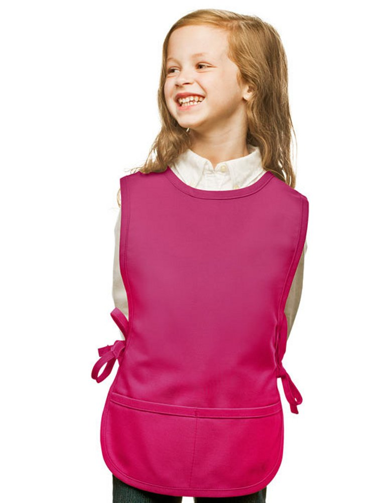 Hot Pink Kids Art Smock, Cobbler Apron, Poly/Cotton Twill Fabric (Extra Large)