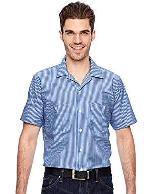 Men's Short-Sleeve Front Pockets Work Shirt, GM BLUE STRIPE
