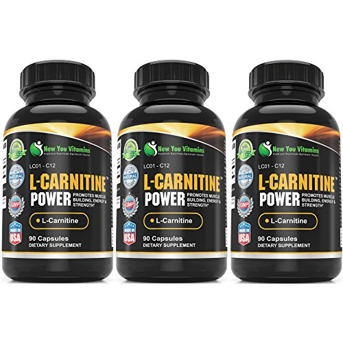 L-Carnitine Power Muscle Building, Energy L-Carnitine 1000mg 270 Capsules 3 Bottles